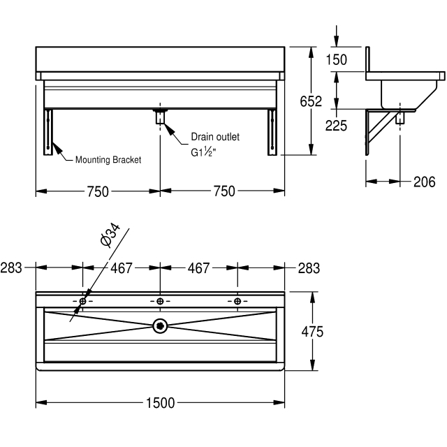 Wash trough with deck-mounted tap holes