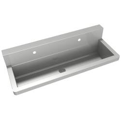 Wash trough with wall-mounted tap holes
