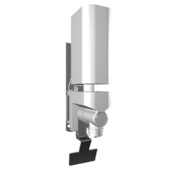 Soap dispenser for behind the mirror mounting