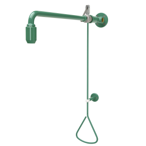 Emergency shower activated by a pull-rod