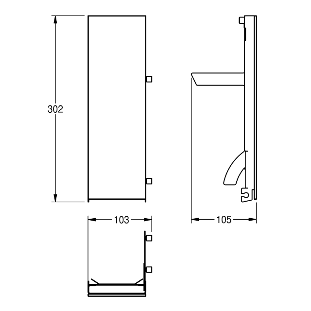EXOS. front with black safety glass panel for soap dispenser for wall mounting