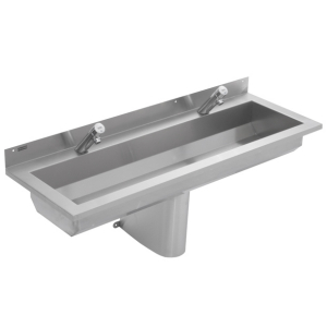 Wall mounted washtroughs with tap ledge