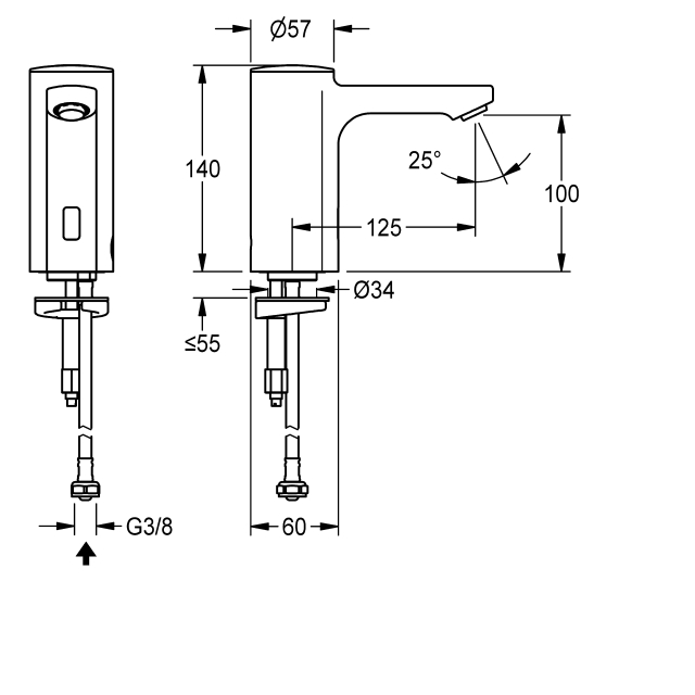 F5E electronic pillar tap with battery operation