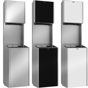 EXOS. paper towel dispenser and waste bin combination for recessed mounting