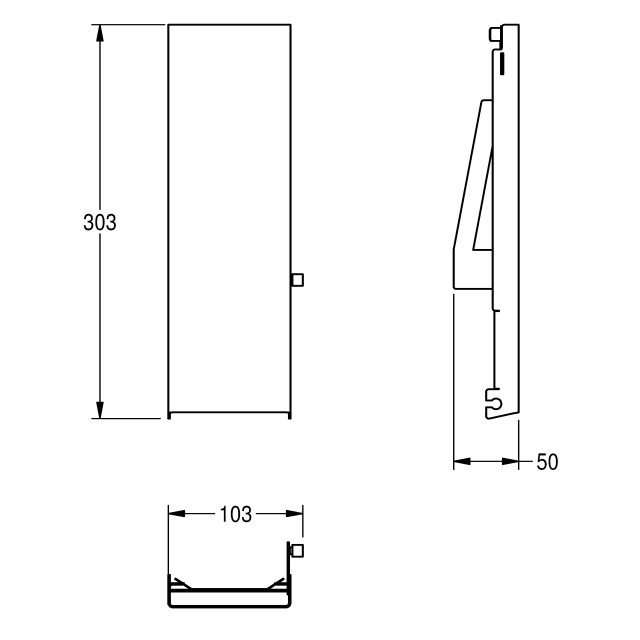 EXOS. Stainless steel front for soap dispenser for recessed mounting