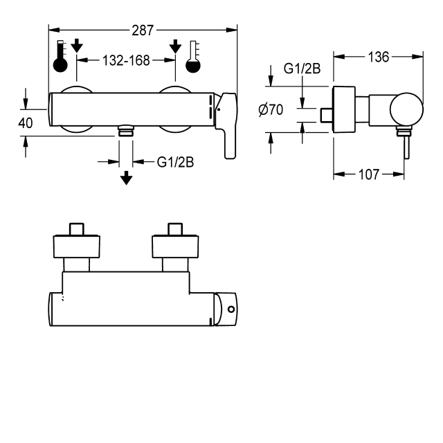 F5L-Mix single-lever wall-mounted mixer with hand shower connection