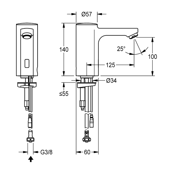 F5E electronic pillar tap for separate power supply