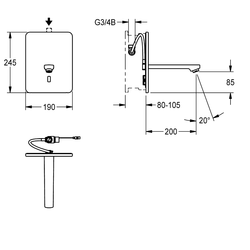 F3E Electronic in-wall tap with battery operation