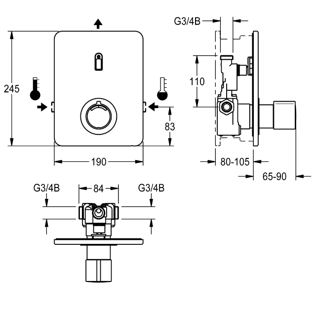 F3E-Therm Electronic thermostatic mixer for separate power supply