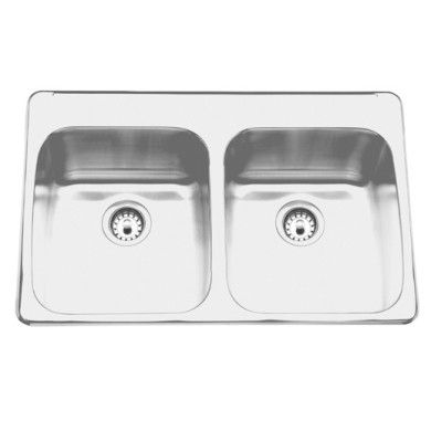 Topmount sink - Double, with ledge, 18 gauge
