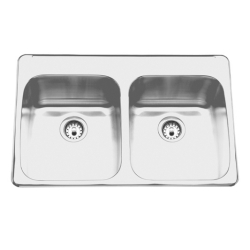 Topmount sink - Double, with ledge, 20 gauge
