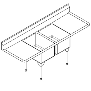 RDL2448LR-1 Double, left & right drainboard, 16 gauge