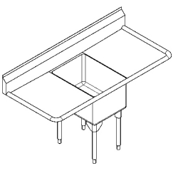 RSL2418LR-1 Single, left & right drainboard, 16 gauge