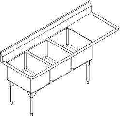 RTL2454R-1 Triple, right drainboard, 16 gauge