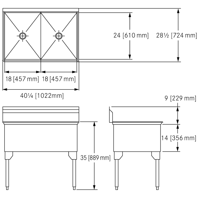 Scullery Sink Service Series - Double, 14 gauge