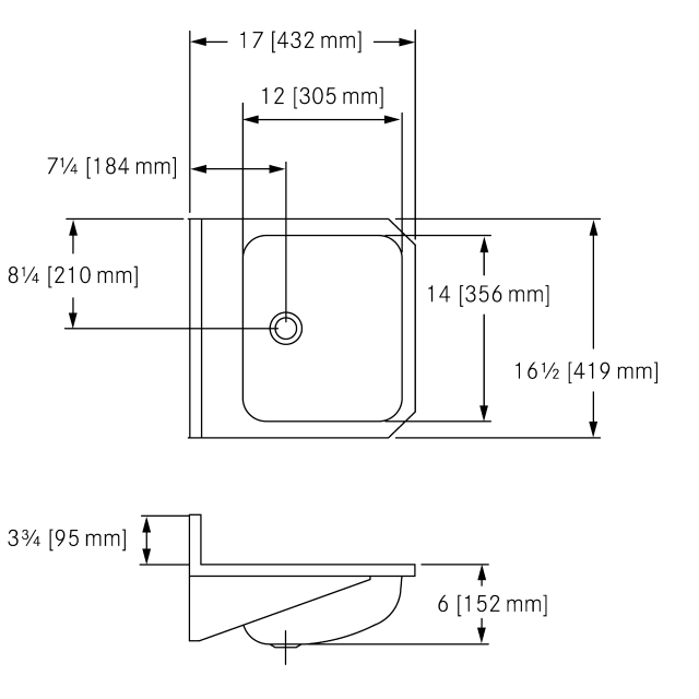 WHB1617-6 Wall Hung, 18 gauge, overflow
