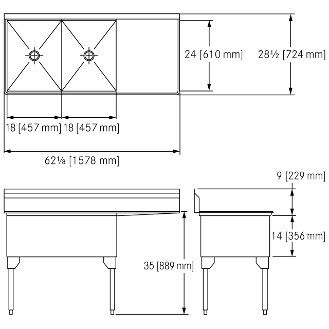 Scullery Sink Service Series - Double, right drainboard, 14 gauge
