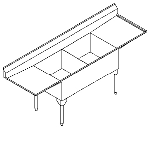 Scullery Sink Service Series - Double, left & right drainboard, 14 gauge