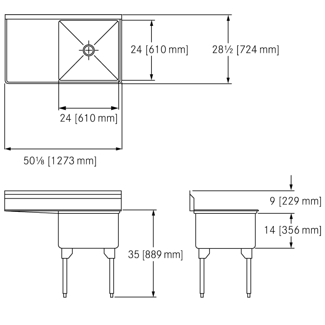 Scullery Sink Restaurant Series - Single, left drainboard, 16 gauge