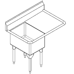 RSL2424R-1 Single, right drainboard, 16 gauge