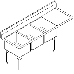 RTL2472R-1 Triple, right drainboard, 16 gauge
