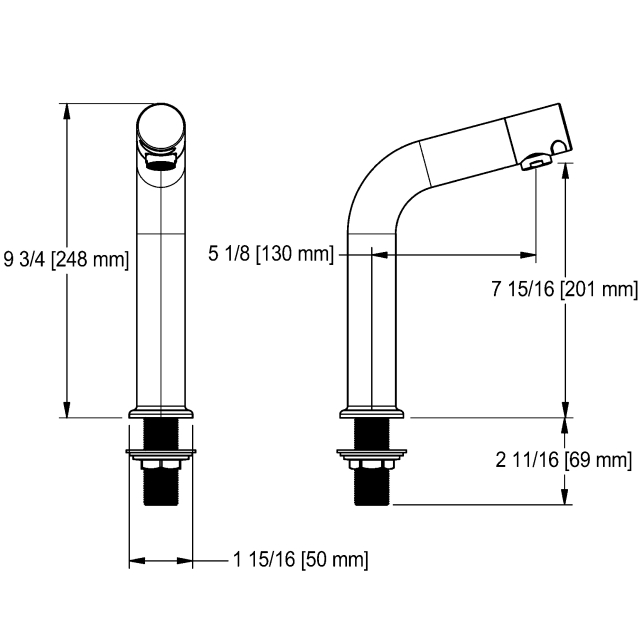 Faucet - Long, wall mount, AC, polished